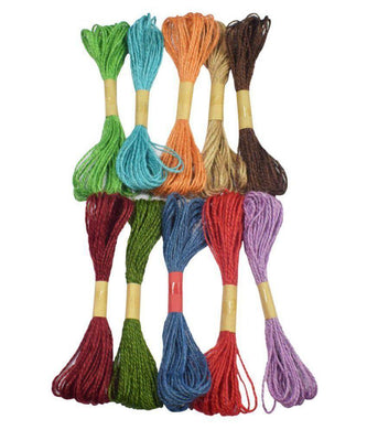 Eshwar Shop Jute Thread For Art & Craft Making (Multicolor) Set Of 12 Colors Embroidery