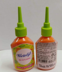 Fevicryl 3D Outliners - Orange Fabric Glue & Adhesives