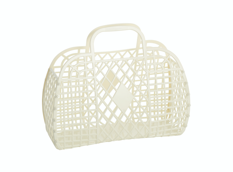 Cream Small Retro Basket
