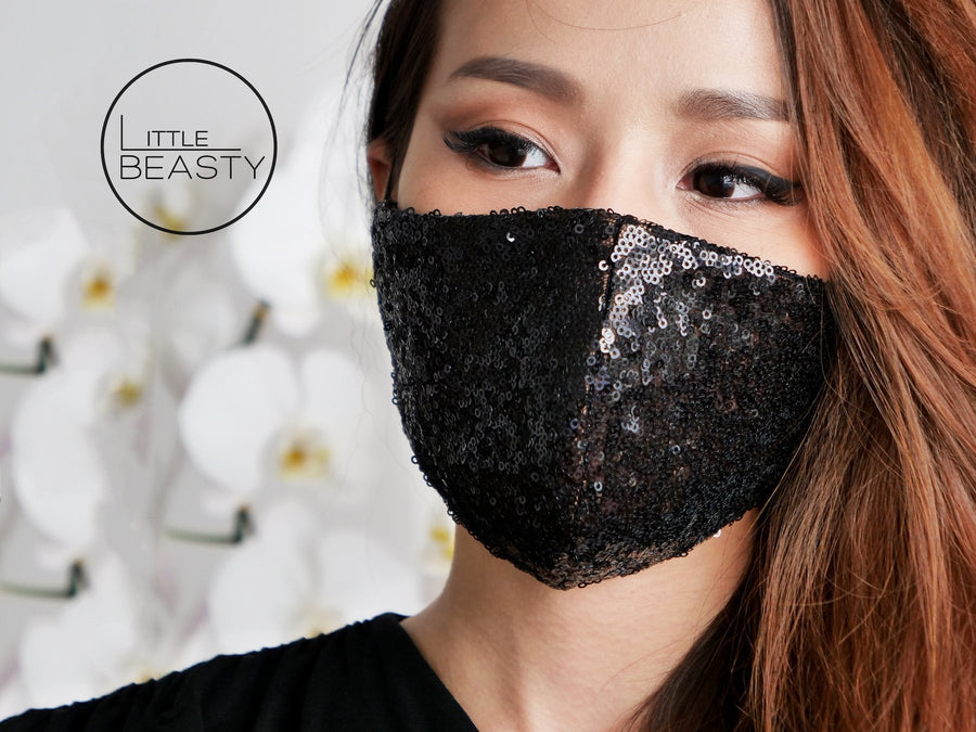 Sequin Black Luxury Facemask - Little Beasty
