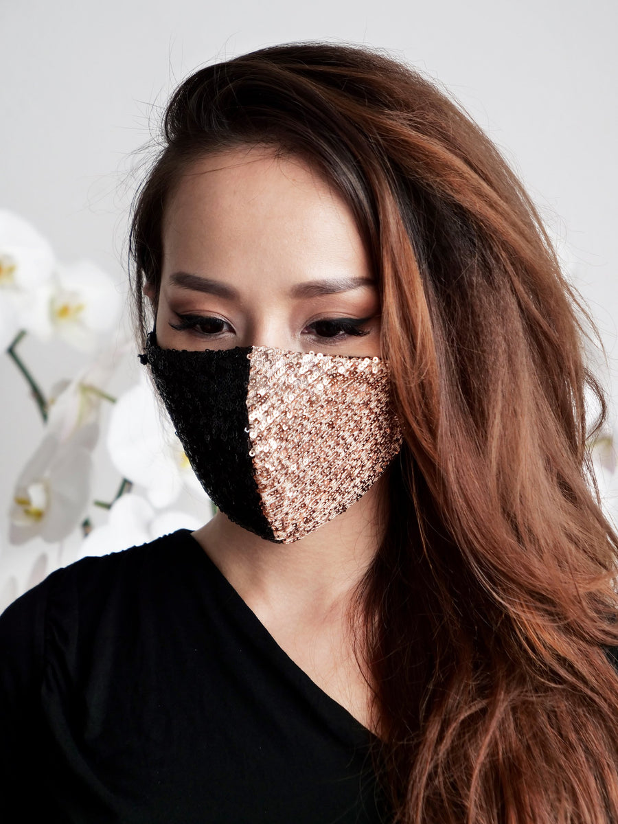 Sequin Black Beige Luxury Facemask - Little Beasty