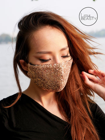 Sequin Beige Luxury Facemask - Little Beasty