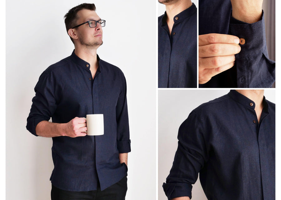 Navy Mandarin Linen Shirt - Little Beasty