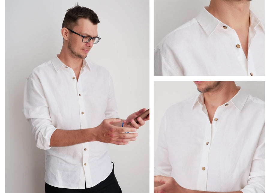 White Linen Shirt - Little Beasty