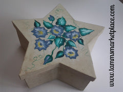 Handpainted Star Paper Mache Box with Blue Flowers QBX001