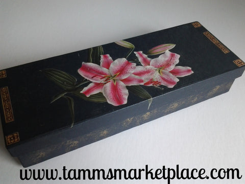 Decoupage Pink Tiger Lily Flowers on Paper Mache Painted Black and Gold Box QBX002