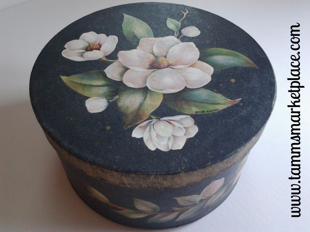 Round Black and Gold Paper Mache Painted Box with Decoupage White Gardenia Flowers QBX003