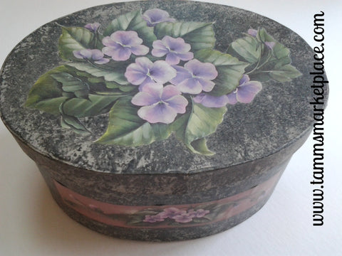 Oval Stone Look Painted Paper Mache Box with Purple Decoupage Flowers QBX004