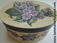 Oval Ivory Painted Paper Mache Box with Decoupage Purple Flowers QBX006