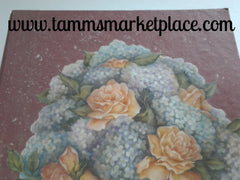 Rose Colored Paper Mache Box shaped like a Book with Decoupage Hydrangea Flowers QBX007