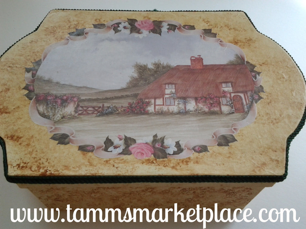Large Rectangle Decoupage Paper Mache Box with Country Cottage scene QBX008