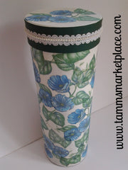Tall White Tube Paper Mache Box with Blue Flowers QBX009
