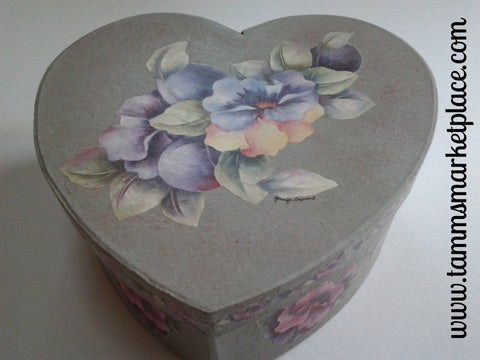 Grey Heart Paper Mache Box with Decoupage Flowers QBX010
