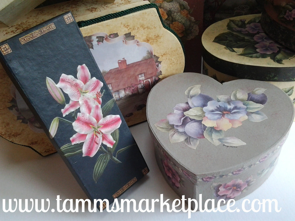 Grey Heart Paper Mache Box With Decoupage Flowers Qbx010 Tamms