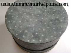 Green Material Covered Round Paper Mache Box QBX011