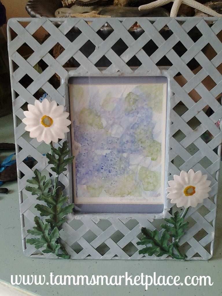 Abstract Watercolor Painting in Flowered Frame QWA036