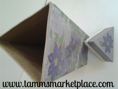 Purple Painted Triangle Flowered Box QBX013