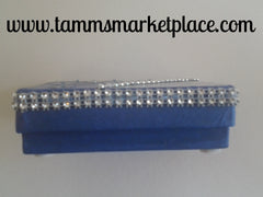 Blue Box with Silver Flowers and Bling QBX020