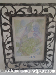 Abstract Original Watercolor Painting in Black and Silver Frame QWA037