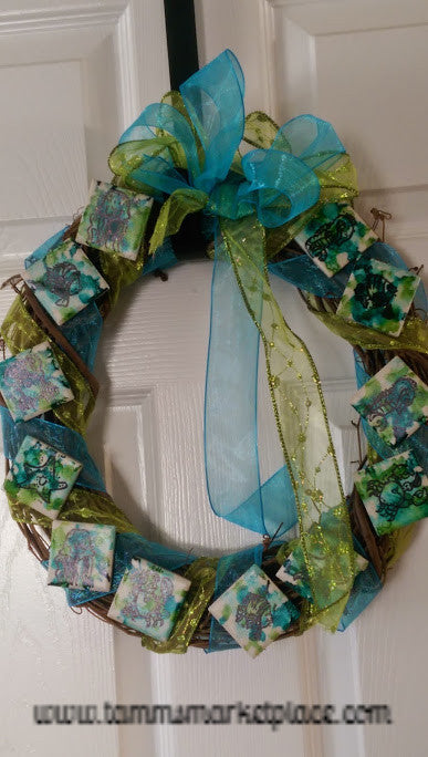 Blue Green Ocean Themed Wreath with Alcohol Ink and Stamps MKW001