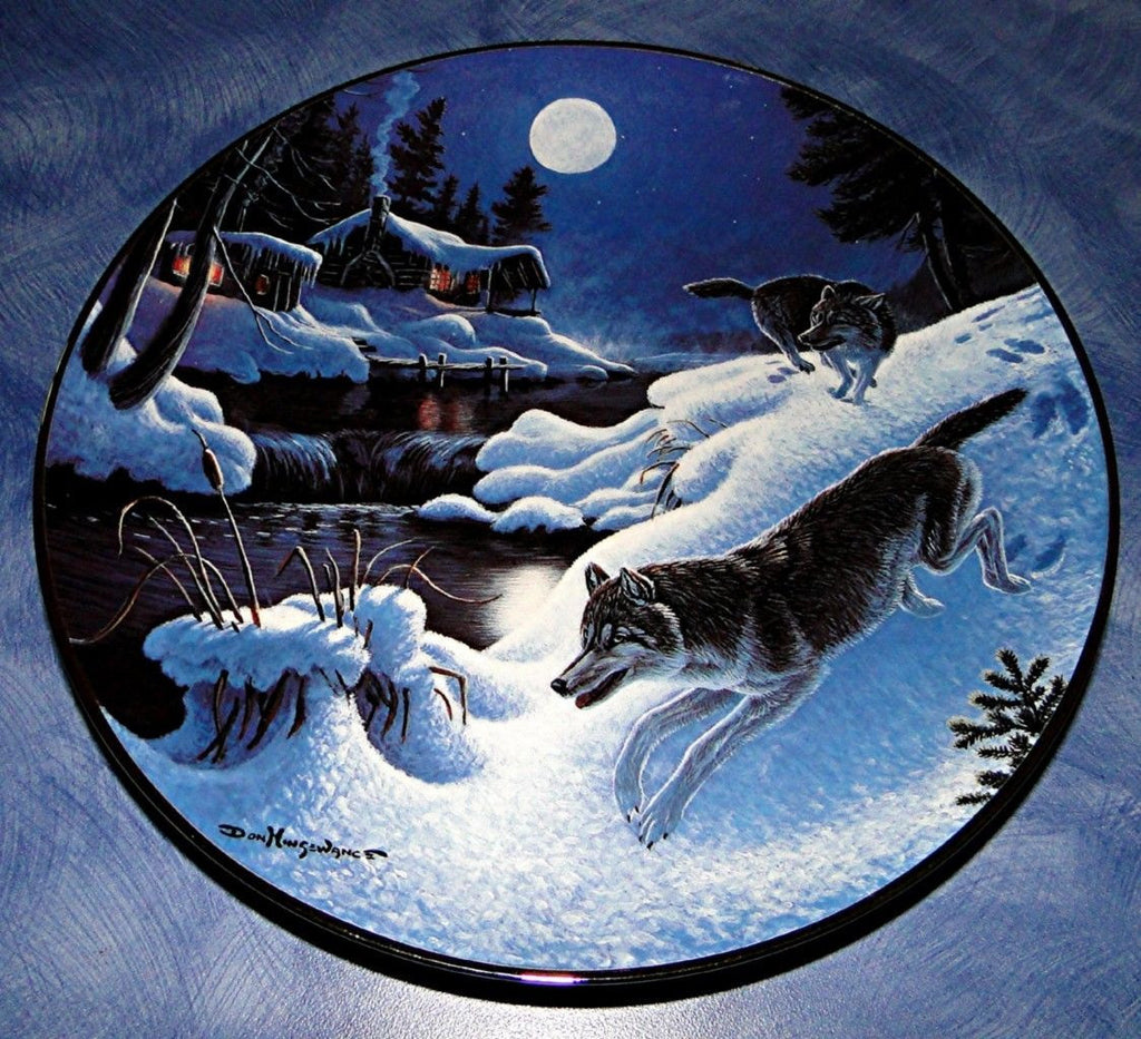 Winter Passage Collector's Plate #3656B of Nightwatch: The Wolf at Bradford Exchange CP028