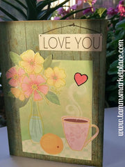 """Love You"" sign over morning coffee 5x7 card QC0010"