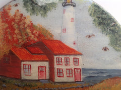 Lighthouse Scenes Hand Painted on Wood Set of 2 Hanging Wall Art DKP001