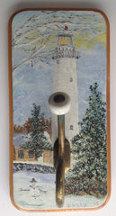 Lighthouse Winter Scene Hand Painted on Wooden Hanging Wall Art with Hook DKP002
