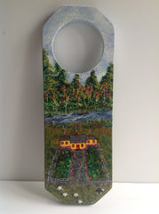 Yellow Cottage Scene Hand Painted on Wooden Hanging Doorknob Art DKP004