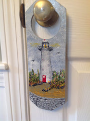 Lighthouse Scene Hand Painted on Wooden Hanging Doorknob Art DKP005