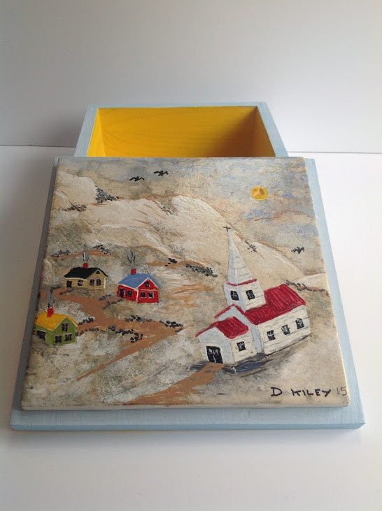 Winter Village Scene w/Church & Mountains is Hand Painted on Tile Lid of Wooden Box DKP006