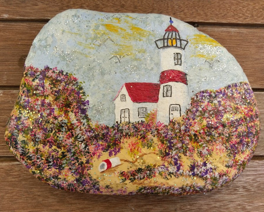 Lighthouse Painted Rock with Flowered Dunes DKP025