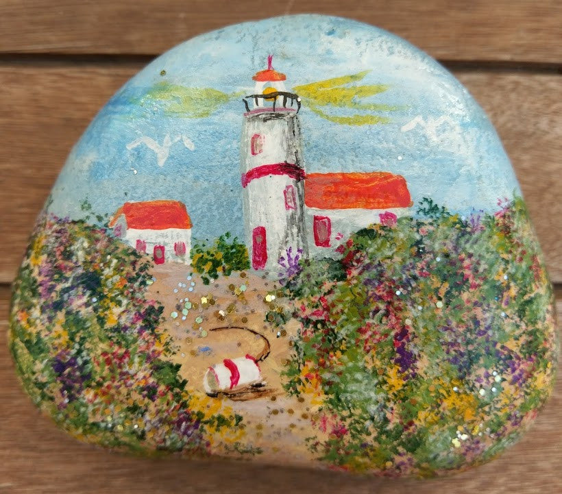 Lighthouse Painted Rock with Flowered Dunes DKP026