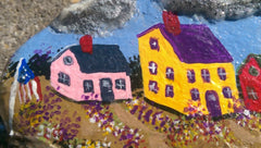 Village Painted scene with Church on Rocky Cliffside DKP029