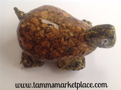 Hand Painted Rock Art - Brown Turtle with a smile DKP007
