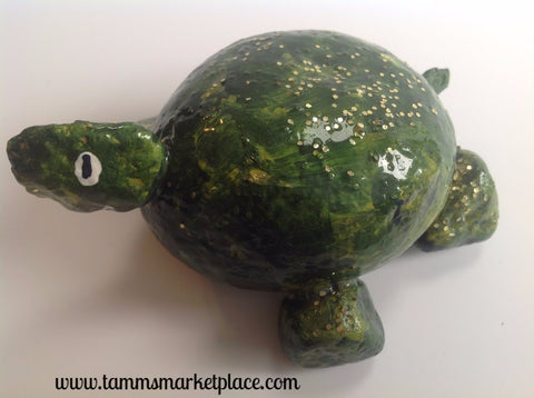 Hand Painted Rock Art - Green Turtle with a smile DKP008