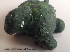 Hand Painted Rock Art - Green Turtle with a smile DKP009