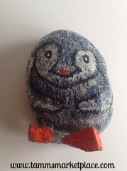 Hand Painted Rock Art - Adorable Snow Bird DKP012