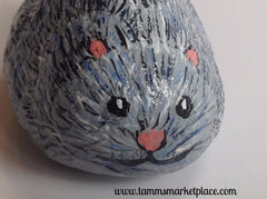 Hand Painted Rock Art - Adorable Mouse with a Smile and a Tail DKP014