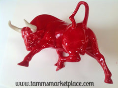 Red Ceramic Bull with White Horns ECE001