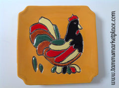 Handmade Ceramic Decorative Chicken Plate with Yellow Background ECE002