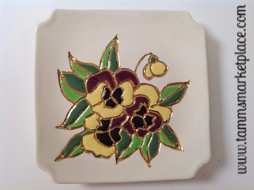 Handmade Ceramic Decorative Purple & Yellow Pansy Plate on White Background ECE004
