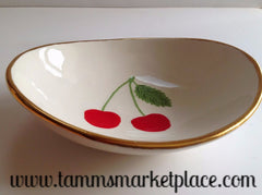 Handmade Ceramic Bowl with Cherries and Gold Rim ECE005