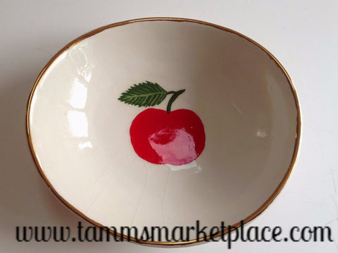 Handmade Ceramic Bowl with Red Apple and Gold Rim ECE006