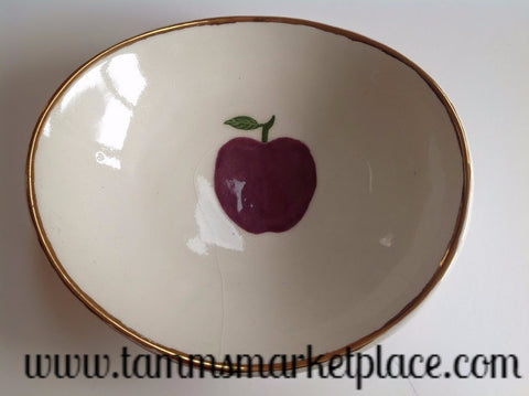 Handmade Ceramic Bowl with Purple Apple and Gold Rim ECE007