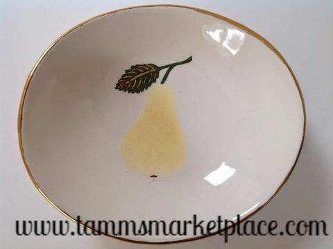Handmade Ceramic Bowl with Yellow Pear and Gold Rim ECE008