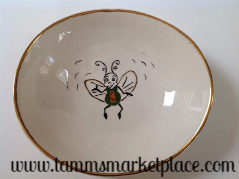 Handmade Ceramic Bowl with Smiling Bumble Bee and Gold Rim ECE010