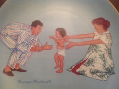 "Vintage Norman Rockwell Collector's Plate ""Baby's First Step"" measures 8.5"" diameter w/gold painted trim ECO007"