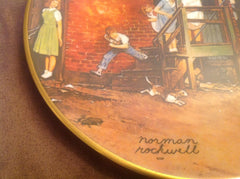 "Vintage Norman Rockwell Collector's Plate ""The Homecoming"" measures 8.5"" diameter w/gold painted trim ECO008"