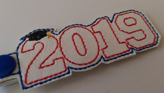 Graduation Year Embroidered Keychain in School Colors and Year of choice  JAY002